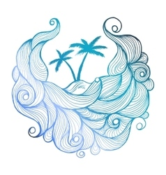 Ink doodle waves with palms vector