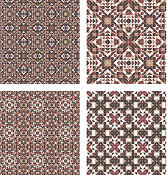 Abstract triangle tile pattern background set vector