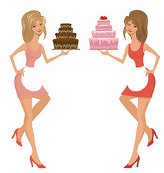 Beautiful young woman with cake vector image vector image