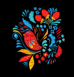 Bright embroidery with flowers berrias and bird vector