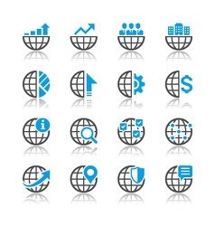 Business icons reflection vector image