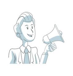 Business man holding speaker advertising marketing vector