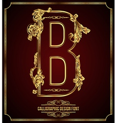 Calligraphic font Letter B vector image vector image