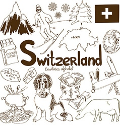 Collection of switzerland icons vector