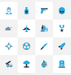 Combat colorful icons set collection of bio vector