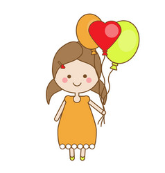 cute smiling little girl holding balloons vector image