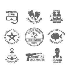 Diving label set vector image