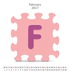 February 2017 puzzle calendar vector image vector image
