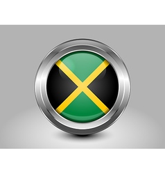Flag of jamaica metal and glass round icon vector