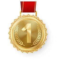 Gold medal golden 1st place badge sport vector