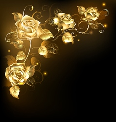 Gold rose on dark background vector