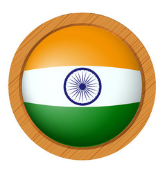 India flag on round button vector