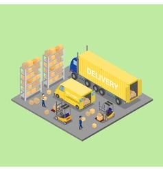 Isometric warehouse cargo industry worker vector