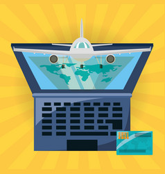 Laptop with destination travel and airplane vector