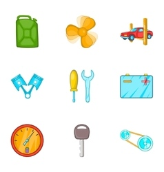 Maintenance car icons set cartoon style vector