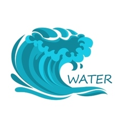 Ocean wave symbol with foam and splashes vector