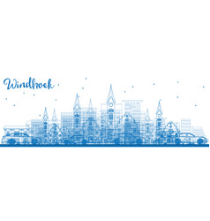 Outline windhoek skyline with blue buildings vector