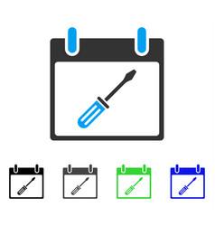 Screwdriver tuning calendar day flat icon vector