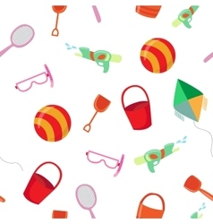 Sea vacation seamless pattern with toys vector