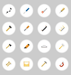 set of 16 editable equipment icons includes vector image vector image