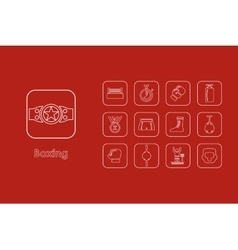 Set of boxing simple icons vector image vector image