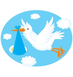Stork with a newborn child vector