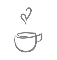 tea cup symbol icon on white vector image