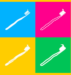 Toothbrush with applied toothpaste portion four vector