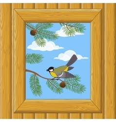 Wood Window with Titmouse vector image vector image