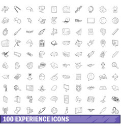 100 experience icons set outline style vector