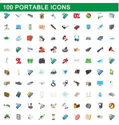 100 portable icons set cartoon style vector