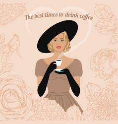 Woman drinking coffee vector