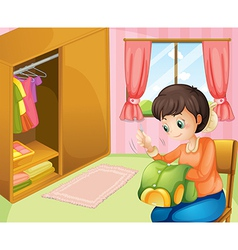 A mother sewing near the cabinet vector