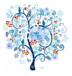 Winter decorative tree vector