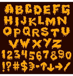 Yellow font smudges alphabet splashing vector