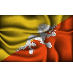 Crumpled flag of bhutan on a light background vector
