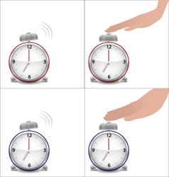 Boy and girl hands and stopped alarm clock vector