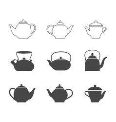 Tea pots set vector