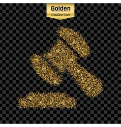 Gold glitter icon of gavel isolated on vector