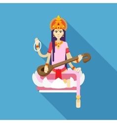 Hindu goddess saraswati flat vector