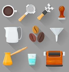 Colorful barista equipment set vector