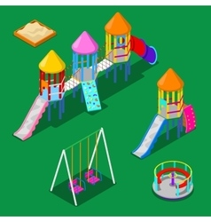 Isometric children playground elements vector