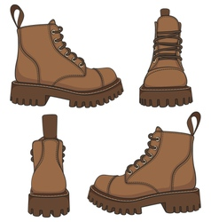 Set of drawings with brown boots vector