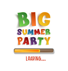 Big summer party loading poster template vector