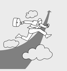 businessman jumping over rising arrow in the sky vector image