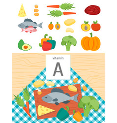 cartoon food with vitamin a vector image vector image