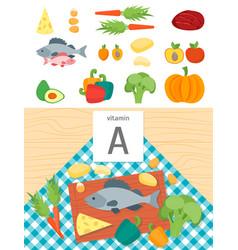 cartoon food with vitamin a vector image