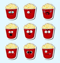 Cartoon popcorn cute character face sticker vector