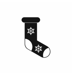 Christmas sock icon black simple style vector image