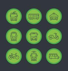 city transport transit van cab bus icons set vector image vector image